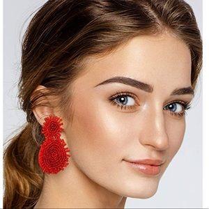 Red Bohemian Beaded Tassel Round Drop Earrings